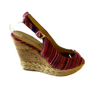 Montego Bay Club  Striped Canvas Open Toe Wedges